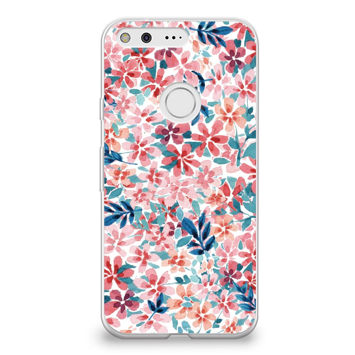 CasesByLorraine Google Pixel XL Case, Colorful Watercolor Print Floral Flowers Case Flexible TPU Soft Gel Protective Cover for Google Pixel XL (P69)
