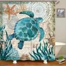 Uphome Sea Turtle Fabric Shower Curtain, Nautical Blue Map Shower Curtain Navigation Under The Sea Life Coastal Cloth Shower Curtain Heavy Weighted Waterproof, Bathroom Beach Decorations, 72x72