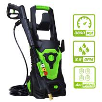 PowRyte Elite 1800Watt 15A Electric Pressure Washer, Electric Power Cleaner with 4 Quick-Connect Spray Tips,Garden Washer with Thermal Protector:3800 PSI 2.60 GPM-Green