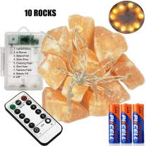 Himalayan Salt String Lights Remote Control(8Modes) with 3 AA Battery Natural Salt Block 10 LED Bulbs Home Decoration & Perfect Gift for Friends