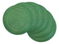 DII CAMZ35065 Varigated Round Placemat Set of 6, Sparkle Green 6 Count
