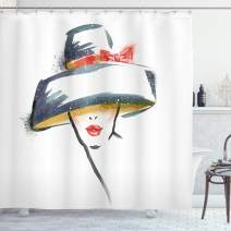 "Ambesonne Modern Shower Curtain, Modern Fashion Woman with Vintage Hat Romantic Print, Cloth Fabric Bathroom Decor Set with Hooks, 70"" Long, Blue Grey"