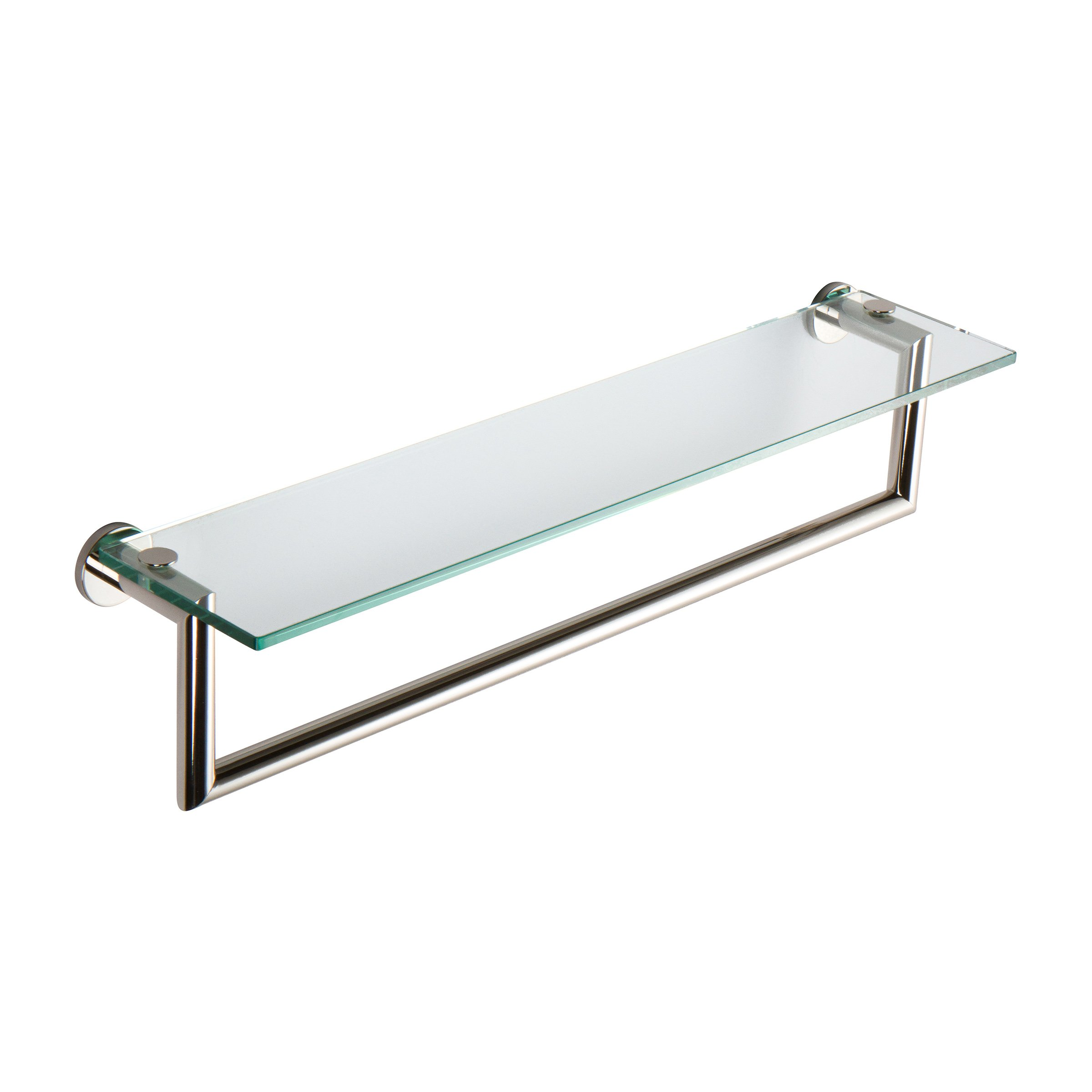 """Ginger 4619T-24/PN Kubic Toiletry Shelf with Towel Bar, 24"""", Polished Nickel"""