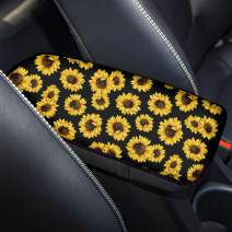 Micandle Car Center Console Cover Pad, Sunflower Print Armrest Box Cover Universal Car Accessories Auto Middle Console Cover Cushion for Most Vehicle SUV Truck
