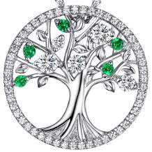 Green Emerald Necklace for Women Birthday Gifts Green Peridot Jewelry for Mom Wife Sterling Silver Tree of Life Jewelry