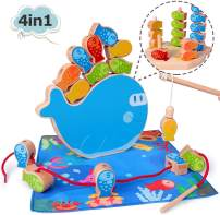 4 in 1 Wooden Magnetic Fishing Game Montessori Stacking Game and Beaded Sorter Toys Fine Motor Skill Toy Best Gifts for 3 4 5+ Years Old Boy Girl Baby Toddler Early Educational Toys