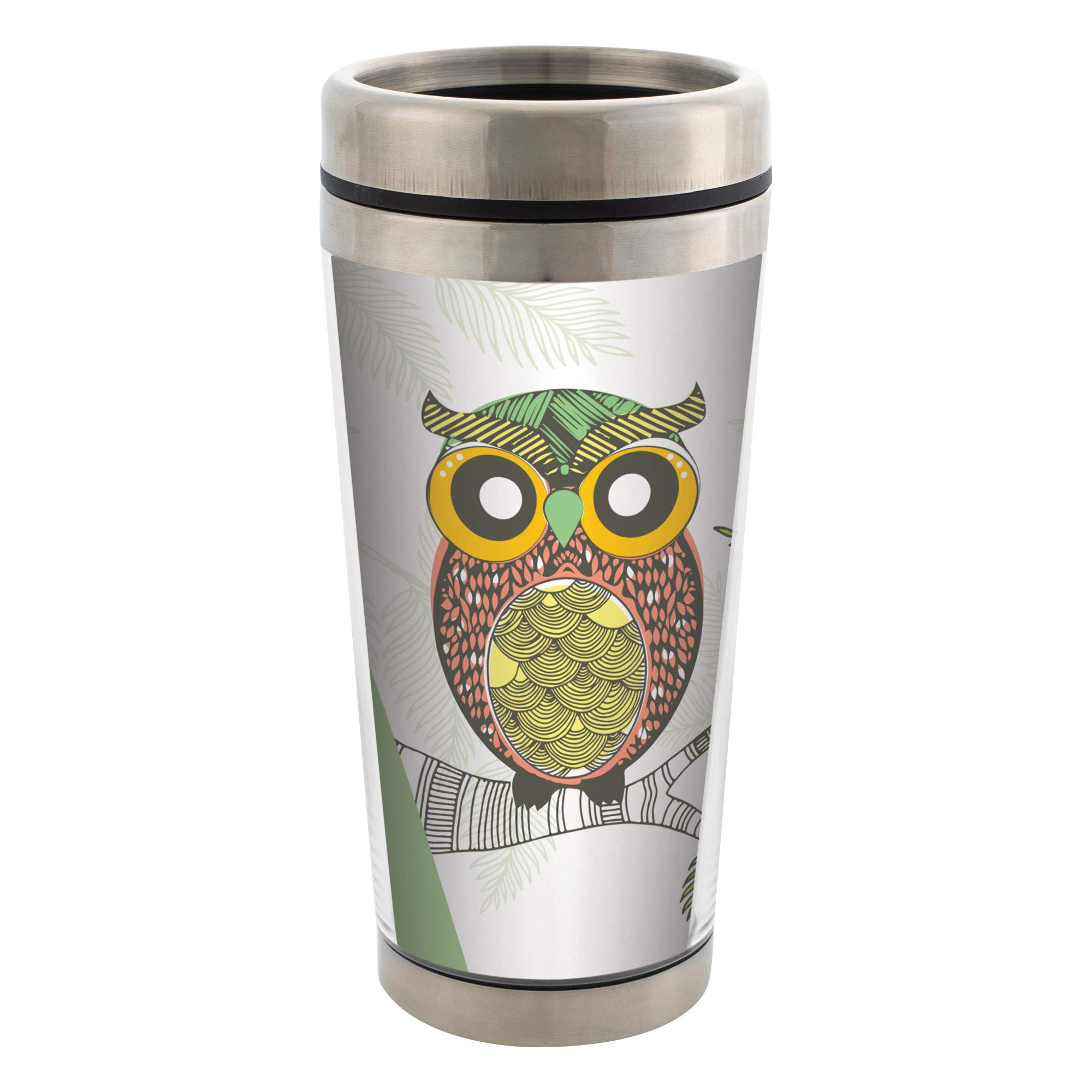 Owl Stainless Steel 16 oz Travel Mug with Lid