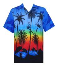 Hawaiian Shirts for Men Tropical Palm Trees Printed Aloha Holiday Beach wear Short Sleeve