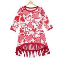 Baby Girl Valentine's Day Dress Toddler Girls Long Sleeve Love Heart Print Tassel Dresses Outfit