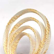 """30ft PET Expandable Sleeving Flexo Wire Cable Sleeve (1/4"""" Transparent Gold 30ft)"""