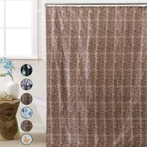 ROYACOR Fabric Shower Curtain with 12 Polyresin Hooks, Water-Repellent Rustproof Bath Curtain, 72x72 Non Toxic 100% Durable Polyester Shower Curtain Liner, Machine Washable,Easy to Install-Snake Skin