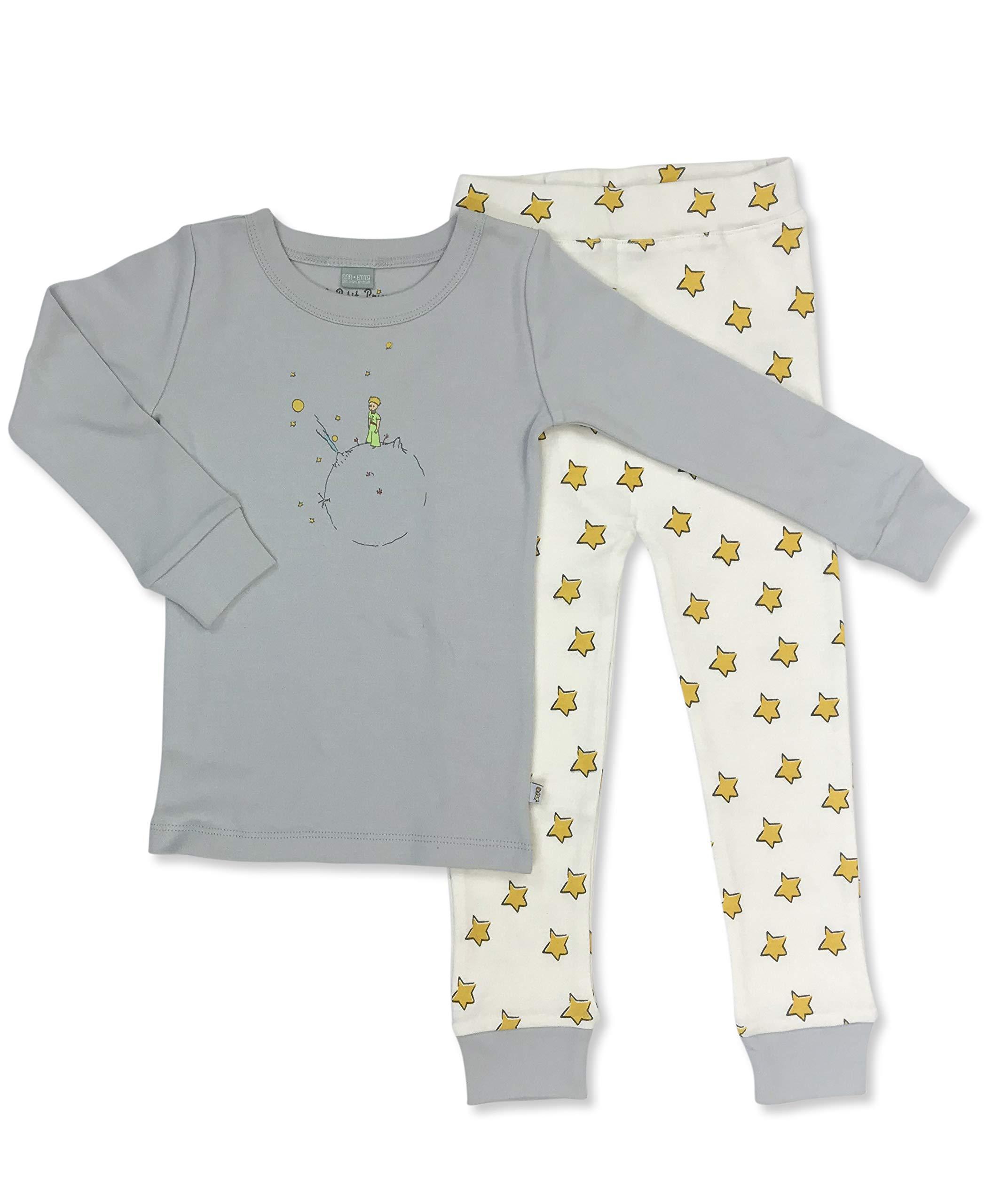 Finn + Emma Little Prince Organic Cotton Toddler Pajama Sleep Set – Gray Top & Yellow Stars Pants, 3T