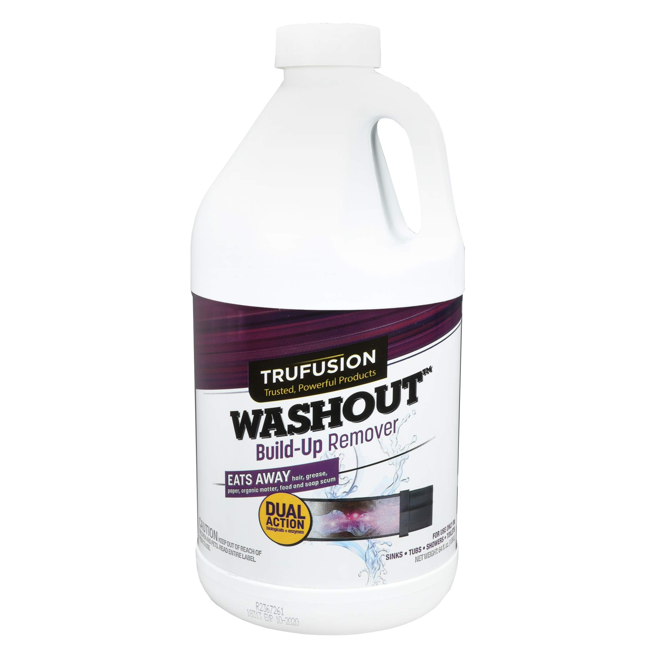 Washout 10966 | Drain Cleaner Build-Up Remover |Enzymes Liquid Drain Opener| Monthly Drain Treatments Prevents Clogs | Septic Safe | 4-8 Doses, 64 oz. | Controls Odors Shower,Tub,Toilet, Sink Drains