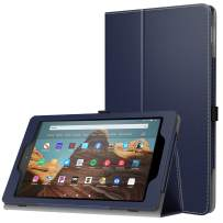 MoKo Case for All-New Amazon Fire HD 10 Tablet (7th Generation and 9th Generation, 2017 and 2019 Release) - Slim Folding Stand Cover with Auto Wake/Sleep for 10.1 Inch Tablet, INDIGO