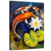 ArtWall Michael Creese 'Koi Fish And Water Lily' Gallery-Wrapped Canvas, 24 by 32-Inch