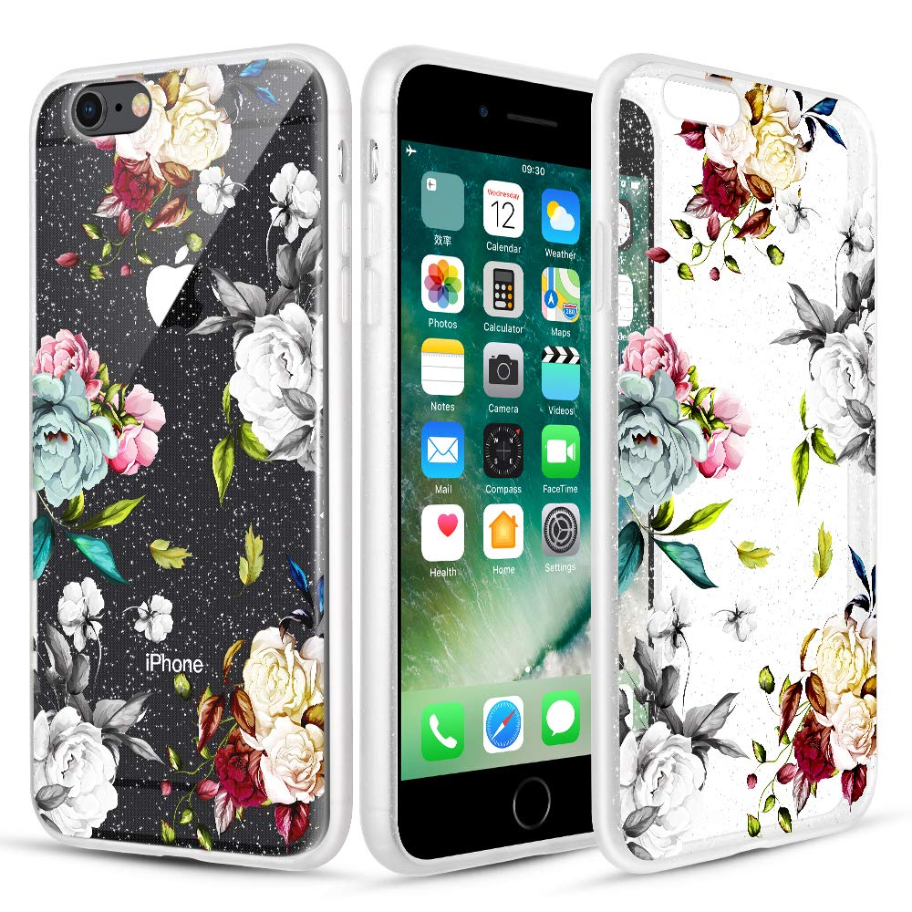Caka Clear Case for iPhone 6 6S Floral Glitter Clear Case Flower Pattern Teal Rose Slim Girly Anti Scratch Excellent Grip Premium Clarity TPU Protective Case for iPhone 6 6S (4.7 inch) (Teal White)