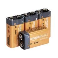 AmazonBasics 9 Volt Everyday Alkaline Batteries - Pack of 4