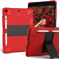 iPad 10.2 Case 2019, CASZONE 3 Layer Heavy Duty Rugged Shockproof Anti-Slip Silicone Protective Cover for New iPad 7th Generation 10.2 inch with Pencil Holder/Kickstand, for Kids/Students- Red+Black