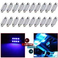 cciyu 42mm Epistar Festoon LED Bulbs 8-5050-SMD Blue Super Bright Interior Car Lights 211 212-2 214-2 211-2 214-2 6411 560 569 578 fit for Dome Map Door Light Courtesy Light Bulbs Pack of 20