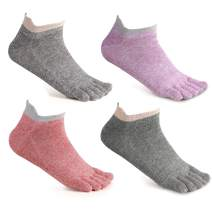 Toe Socks No Show & Liner Socks Cotton Low Cut Five Finger Socks for Women by Meaiguo