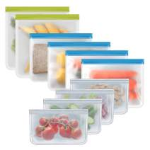 Reusable Storage Bags - 10 Pack BPA FREE Freezer Bags (2 Reusable Gallon Bags + 4 Leak-Proof Sandwich Bags + 4 THICK Snack Bags) Food Grade PEVA Lunch Bags for Food Marinate Meat Fruit Cereal
