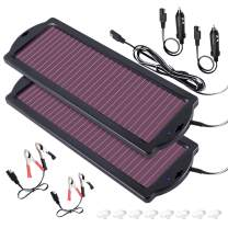 POWOXI Solar Car Battery Trickle Charger, 12V 1.8W Solar Battery Charger Car, Waterproof Portable Amorphous Solar Panel for Rv Motorcycle Watercraft
