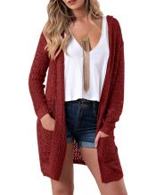 FISACE Womens Boho Open Front Stitch Crochet Knit Duster Hooded Cardigan Sweater with Pockets