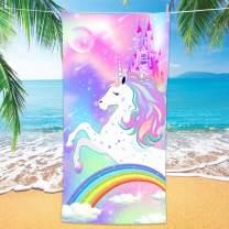 "Bonsai Tree Unicorn Microfiber Beach Towel, Rainbow Kids Quick Dry Beach Blanket Oversized 30"" x 60"", Magic Castle Cute Sand Proof Bath Towels for Girls Travel"