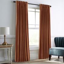 "Dreaming Casa Darkening Amber Gold Velvet Curtains for Living Room Thermal Insulated Rod Pocket Back Tab Window Curtain for Bedroom 2 Panels 42"" W x 63"" L"