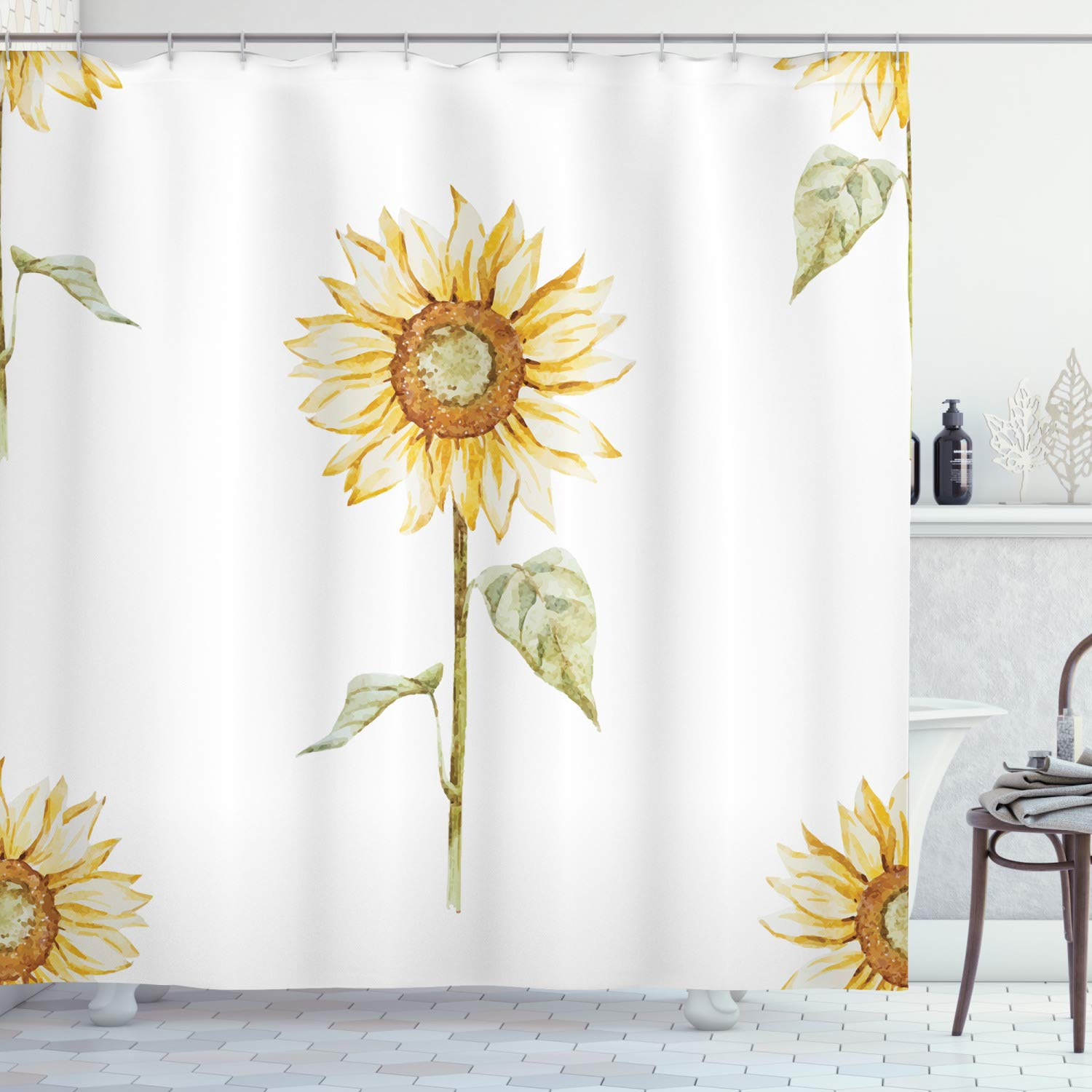 """Ambesonne Sunflower Shower Curtain, Sunflowers with Watercolor Painting Effect and in Minimalistic Design Artwork, Cloth Fabric Bathroom Decor Set with Hooks, 70"""" Long, Yellow White"""