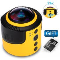 JoyPlus 360 Degree Spherical Panorama VR Camera With Free 16G Micro SD Card for Making 360 Video, Portable 360 Cam Digital Camera With Free App & Mount Adapter