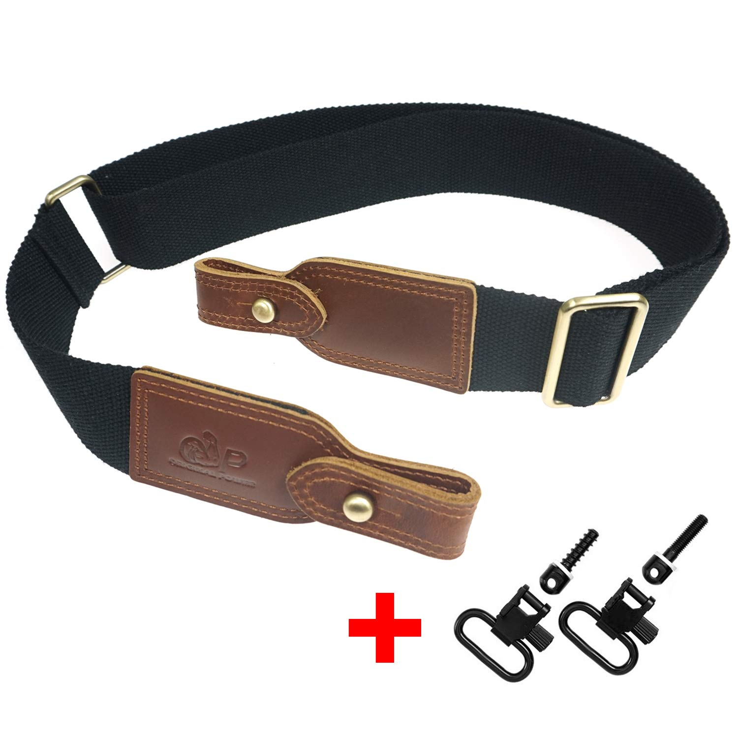 """op original power Cotton and Leather Rifle Sling, Duable Gun Carry Straps for 1"""" Quick Detach Swivels"""