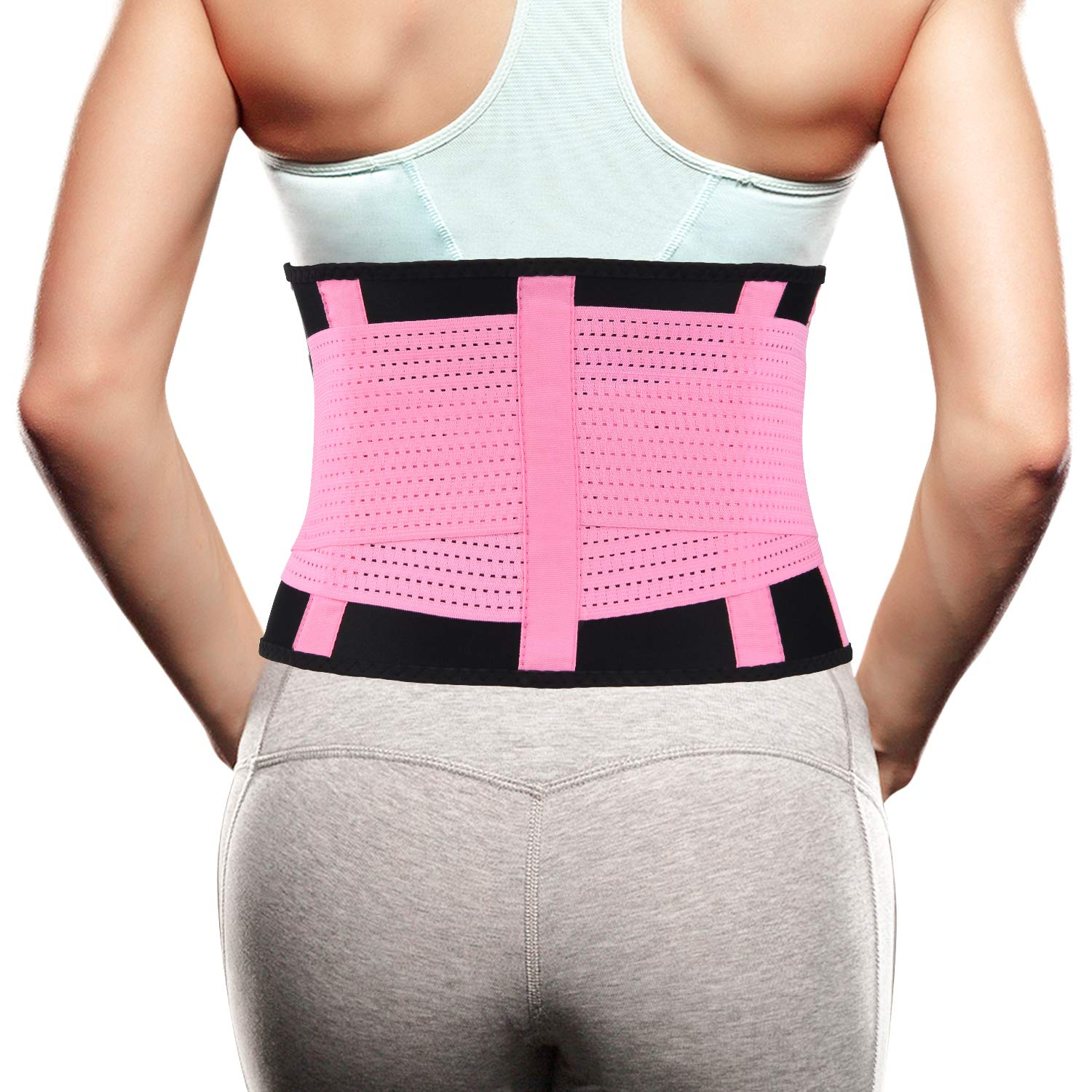 "Back Brace for Women Men - Lower Lumbar Back Support Belt for Pain Relief - Waist Trimmer Belt Body Shaper-Weight Lifting Back Stretcher - Adjustable and Breathable Posture Corrector Pink L/(33""-37"")"