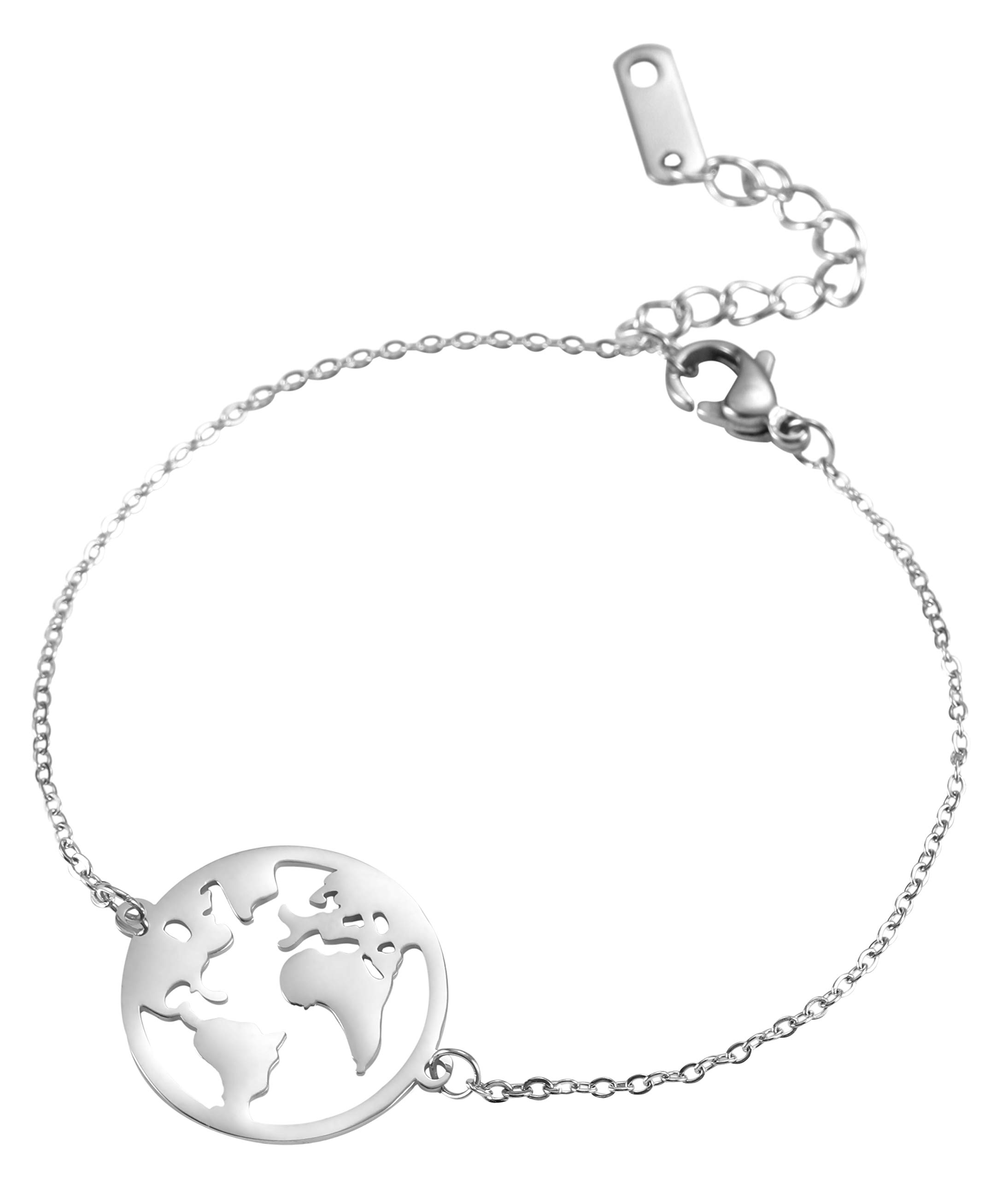 TEAMER Fashion World Map Charm Bracelet Stainless Steel Round Earth Hollow Out Simple Novelty Jewelry for Women Girls Men