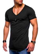 behype. Men's Basic V-Neck Casual Fashion Hipster T-Shirt Muscle Longline Tee Casual Premium Top MT-7102