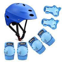 Kid's Protective Gear Set,Helmet Knee Pads Elbow Pads Wrist Pads for Bike Roller Skating Skateboard BMX Scooter Cycling (3-8 Years Old)
