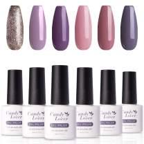 Candy Lover Popular Gel Nail Polish, Deep Romance Red Purple Pastel UV LED Selected 6 Spring Summer Colors Set - Soak Off Nail Gel Polish Home Manicure Varnish Kit
