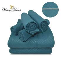 Victoria Valenti Embossed Sheet Set with 4 Pillow Cases, Double Brushed and Ultra Soft with Deep Pockets for Extra Deep Mattress, Microfiber, Hypoallergenic Full Dark Teal