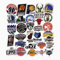 Jasion 30-Pcs Vinyl Stickers Waterproof NBA Basketball Team Logo All Complete Set Graffiti Decals for Water Bottles Cars Motorcycle Skateboard Portable Luggages Phone Ipad Laptops