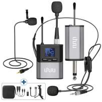 Wireless Lavalier Microphone,UHURU Wireless Microphone with Lavalier Mic, Headset Mic, Handheld Mic, Rechargeable Bodypack Transmitter & Receiver for PA Speaker, Cameras, Teaching, Video Recording