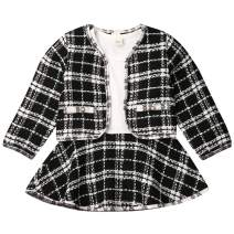 Toddler Baby Girls Dress and Cardigan Set Plaid Long Sleeve Dress and Jacket Outfit Fall Winter Clothes