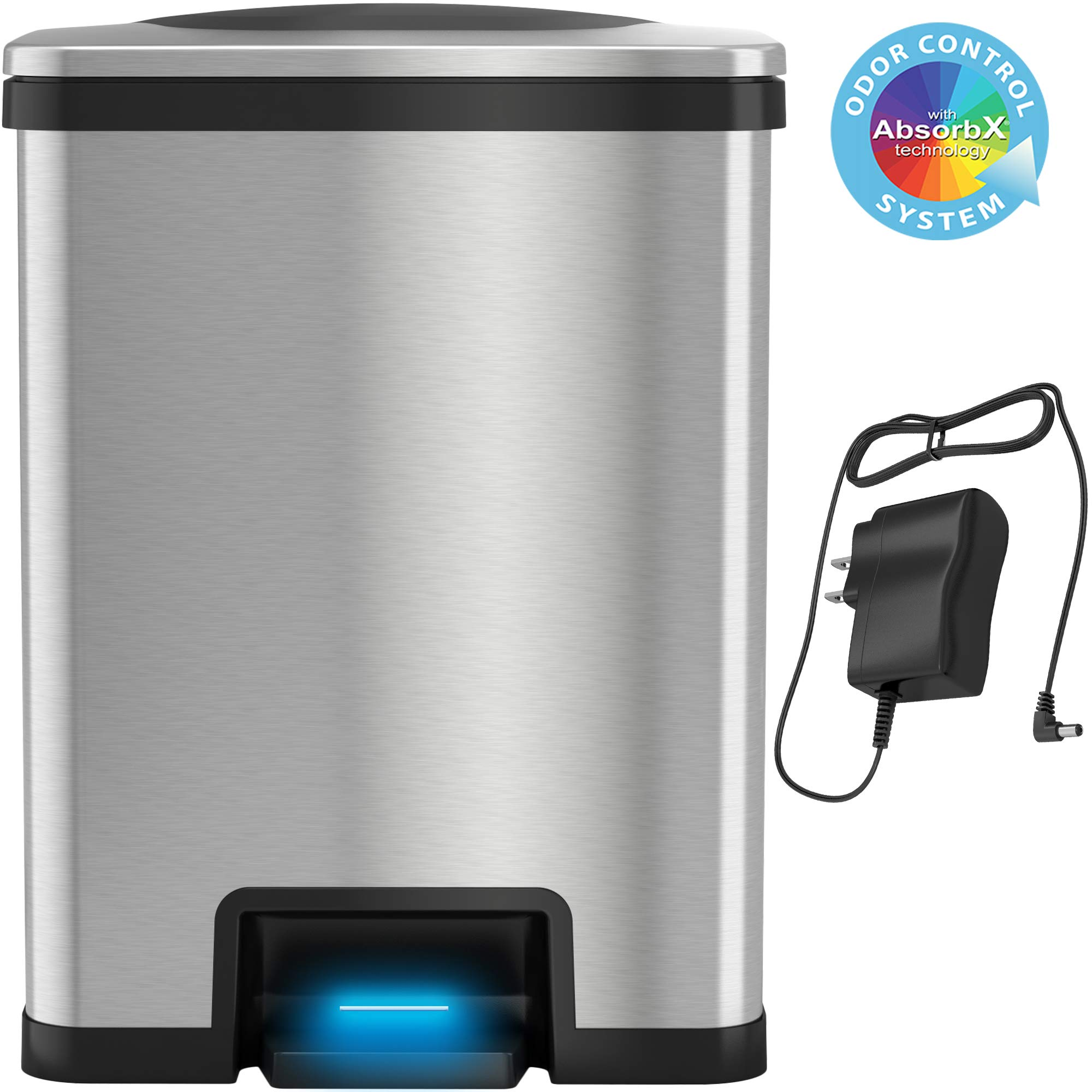 iTouchless AutoStep 13 Gallon Automatic Step Sensor Trash Can with AbsorbX Odor Control System and AC Adapter, Stainless Steel Kitchen Pedal Touchless Garbage Bin (Battery-Free Operation)