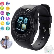Smart Watch Bluetooth Smartwatch Touch Screen Wrist Watch with Sim Card Slot Sport Fitness Tracker Pedometer Sync Call SMS Remind Compatible with Android Cell Phones Men Women Kids Girls Boys