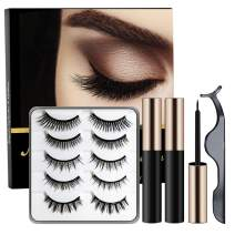 Magnetic Eyelashes With Double Magnetic Eyeliner Kit, Reusable, Cuttable, Strong Magnetism, Waterproof Sweat-Proof, Smudged Free, Natural Glamorous Looking For All Occasions, 5 Pairs