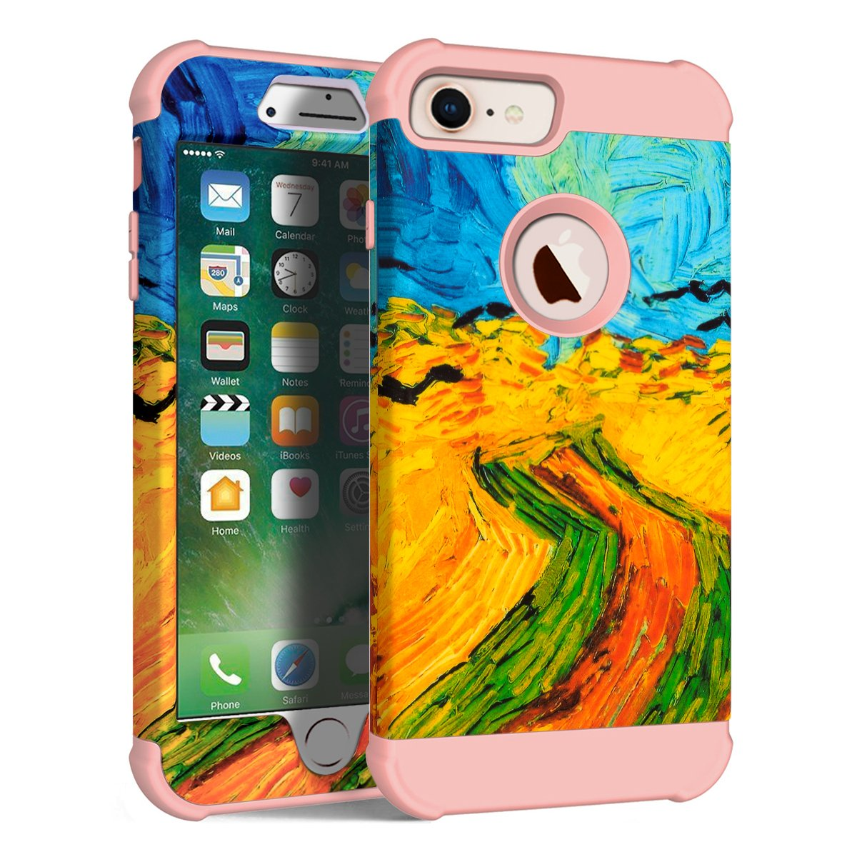 MAXCURY Vincent Willem Van Gogh Painting Series Three Layer Heavy Duty Protective Cover Case for iPhone 6/6s/7/8 Regular Size in 4.7 Inch (Wheat Field with Crows - Rose Gold)