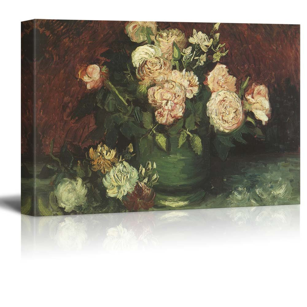 """wall26 Bowl with Peonies and Roses by Vincent Van Gogh - Oil Painting Reproduction on Canvas Prints Wall Art, Ready to Hang - 24"""" x 36"""""""