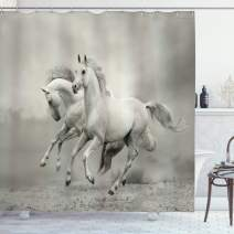 """Ambesonne Horses Shower Curtain, Running Horses Symbolizing Passion for Freedom Creatures Photo Print, Cloth Fabric Bathroom Decor Set with Hooks, 75"""" Long, Grey White"""