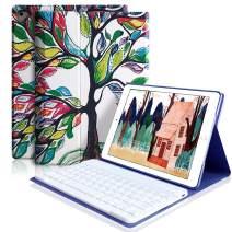 iPad Keyboard Case 9.7 for iPad 2018 (6th Gen), iPad 2017(5th,Gen), iPad Pro 9.7, iPad Air 1/2 Slim Leather Folio Cover with Wireless Bluetooth Keyboard (Love Tree)