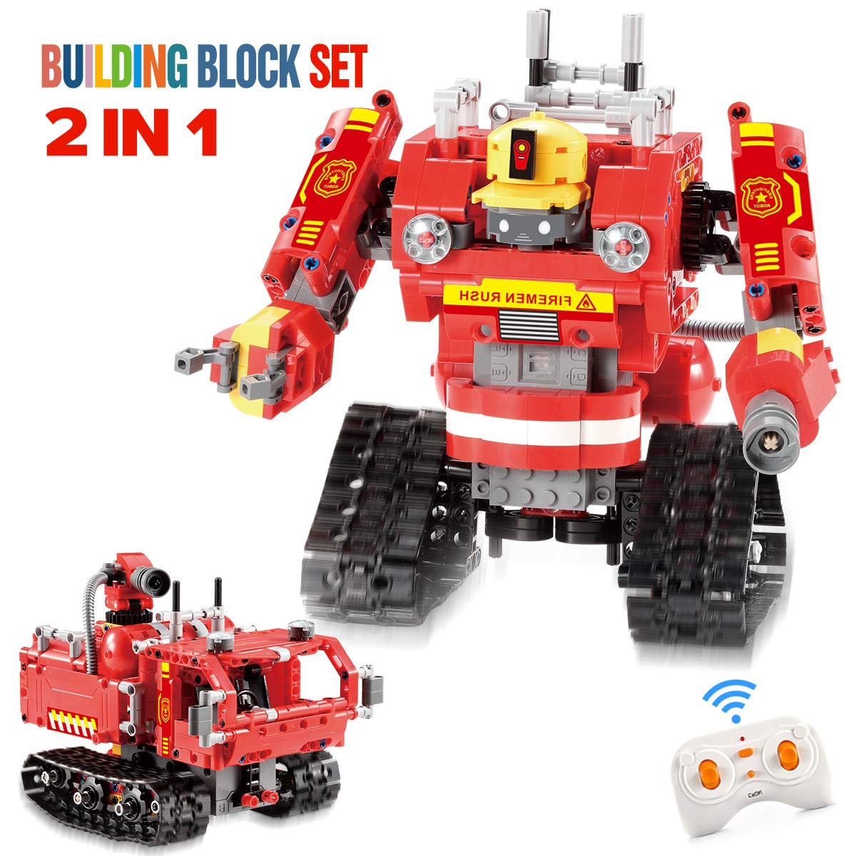 EL 2 in 1 Building Block Robot Remote Control Fireman Robot Car Toy Educational Kit Engineering STEM Building Toys Intelligent Gift for Boys and Girls (527 PCS)