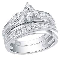 Wuziwen Engagement Ring Wedding Band Set for Women Sterling Silver Cubic Zirconia Marquise